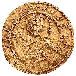 Egy darab fémpénz, Szent István király aranypénze, ókori pénz, az első magyar fémpénz.